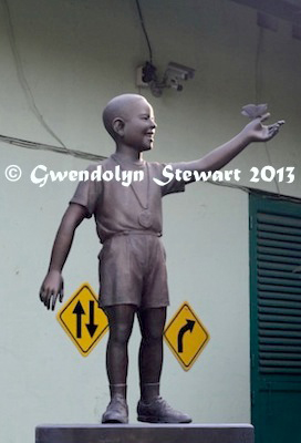 Statue  of the Boy Barack Obama (Barry Sutoro), Jakarta, Indonesia, Photographed  by Gwendolyn Stewart c. 2015; All Rights Reserved