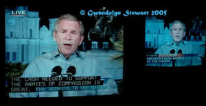Photograph of George W. Bush Televised from New Orleans, � Gwendolyn  Stewart 2015; All Rights Reserved