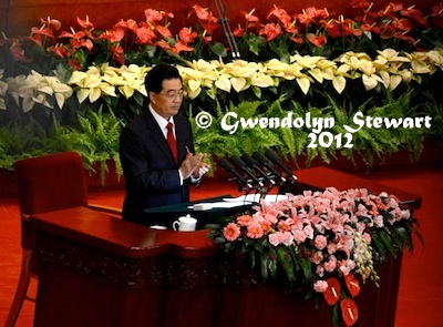 HU JINTAO REPORTS TO THE 18TH CCP CONGRESS Photographed by Gwendolyn Stewart c. 2012; All Rights Reserved