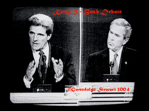 Photograph of  Yalies George W. Bush and John Kerry in Their First Televised Debate,  c. 2006 by Gwendolyn Stewart; All Rights Reserved