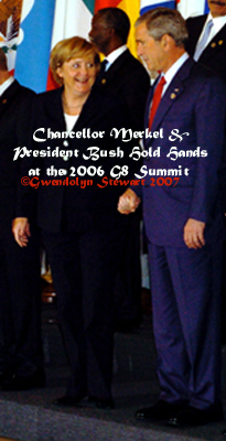 Photograph  by GWENDOLYN STEWART of German Chancellor ANGELA MERKEL holding hands with  U.S. President GEORGE W. BUSH at the 2006 G-8 Summit; c. 2009; All Rights  Reserved