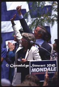 WALTER MONDALE & GERALDINE  FERRARO PHOTOGRAPHED AT THE 1984 DEMOCRATIC NATIONAL CONVENTION BY GWENDOLYN STEWART c.  2011; All Rights Reserved