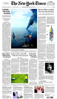 Front Page of the New York  Times of June 21, 2010, With a Photograph of John Updike by Gwendolyn  Stewart c. 2011; All  Rights Reserved