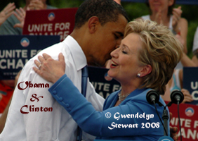 Photograph of Senators Barack Obama (D-Illinois) and Hillary Clinton  (D-NY) in Unity, New Hampshire, June 27, 2008, by GWENDOLYN STEWART c. 2009;  All Rights Reserved