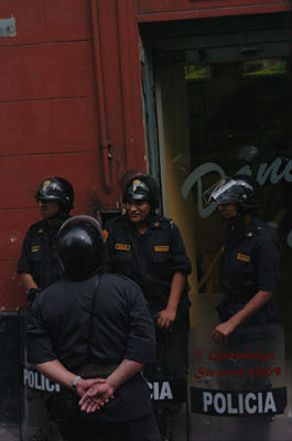 Peruvian Police in Lima During the Time of the APEC 2008 Summit, Photographed by Gwendolyn  Stewart c. 2009; All Rights Reserved