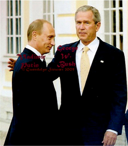 Russian President Vladimir Putin and U.S. President George  W. Bush at the 2006 G-8 Summit in St. Petersburg, Russia, photographed by Gwendolyn Stewart,  c. 2009; All Rights Reserved